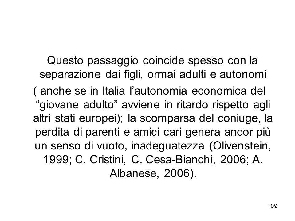 109 Questo passaggio coincide spesso con la separazione dai figli, ormai adulti e autonomi ( anche se in Italia lautonomia economica del giovane adult