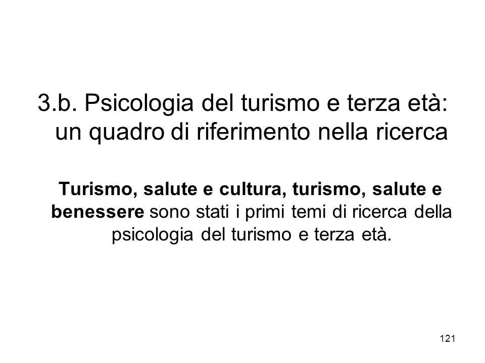 121 3.b. Psicologia del turismo e terza età: un quadro di riferimento nella ricerca Turismo, salute e cultura, turismo, salute e benessere sono stati