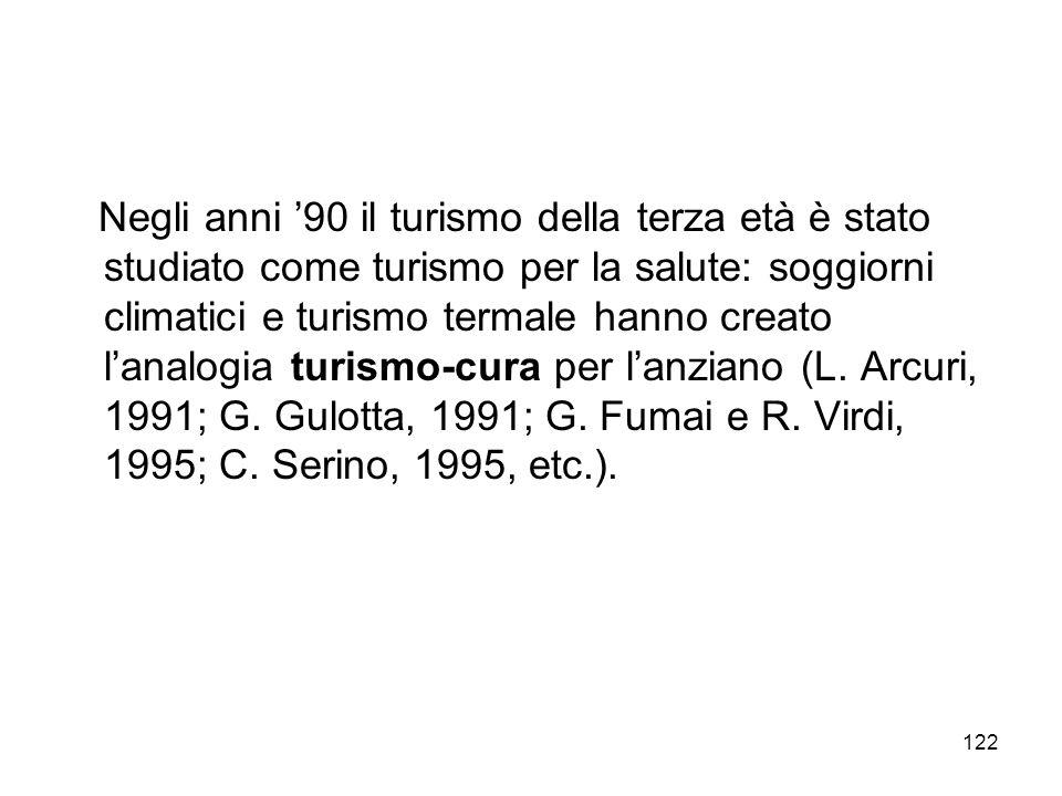 122 Negli anni 90 il turismo della terza età è stato studiato come turismo per la salute: soggiorni climatici e turismo termale hanno creato lanalogia
