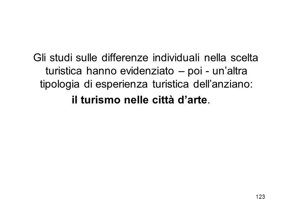 123 Gli studi sulle differenze individuali nella scelta turistica hanno evidenziato – poi - unaltra tipologia di esperienza turistica dellanziano: il
