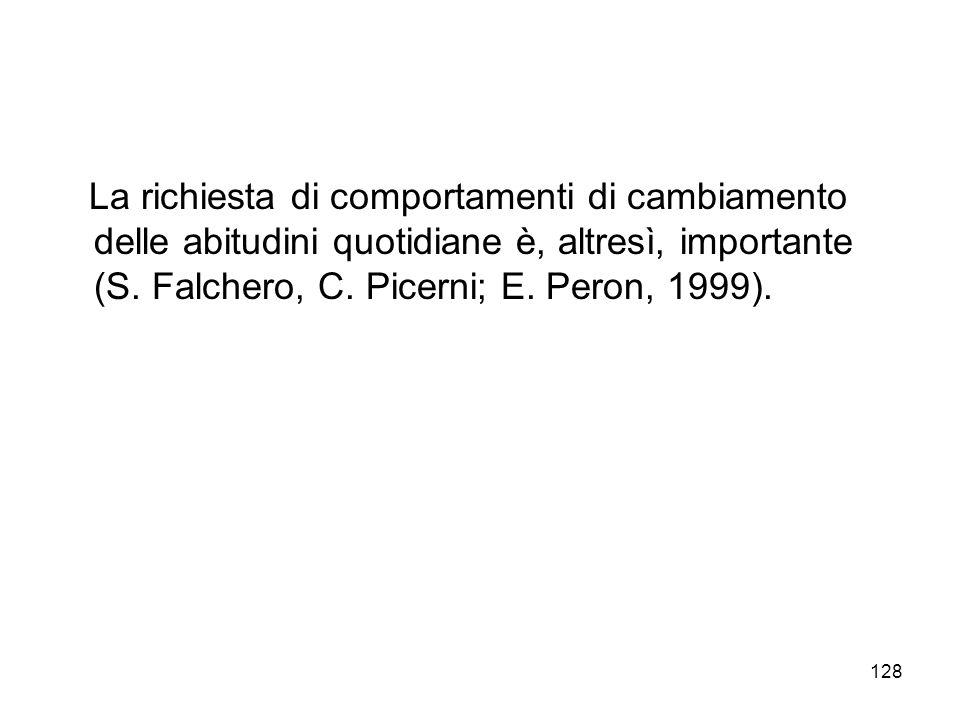 128 La richiesta di comportamenti di cambiamento delle abitudini quotidiane è, altresì, importante (S. Falchero, C. Picerni; E. Peron, 1999).