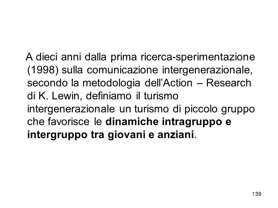 139 A dieci anni dalla prima ricerca-sperimentazione (1998) sulla comunicazione intergenerazionale, secondo la metodologia dellAction – Research di K.