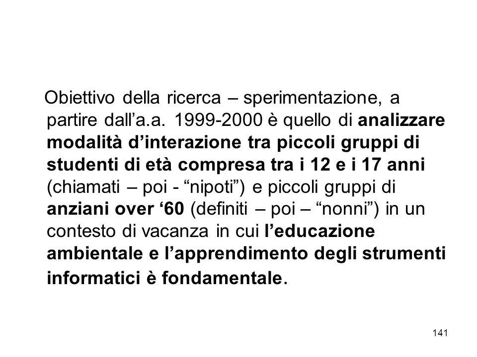 141 Obiettivo della ricerca – sperimentazione, a partire dalla.a. 1999-2000 è quello di analizzare modalità dinterazione tra piccoli gruppi di student