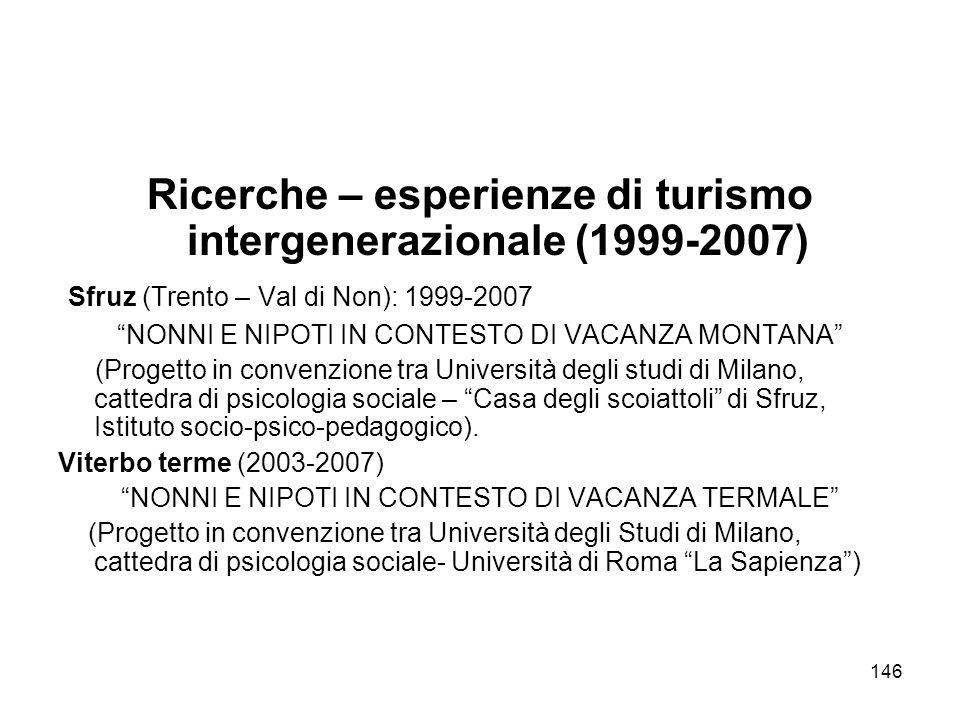 146 Ricerche – esperienze di turismo intergenerazionale (1999-2007) Sfruz (Trento – Val di Non): 1999-2007 NONNI E NIPOTI IN CONTESTO DI VACANZA MONTA