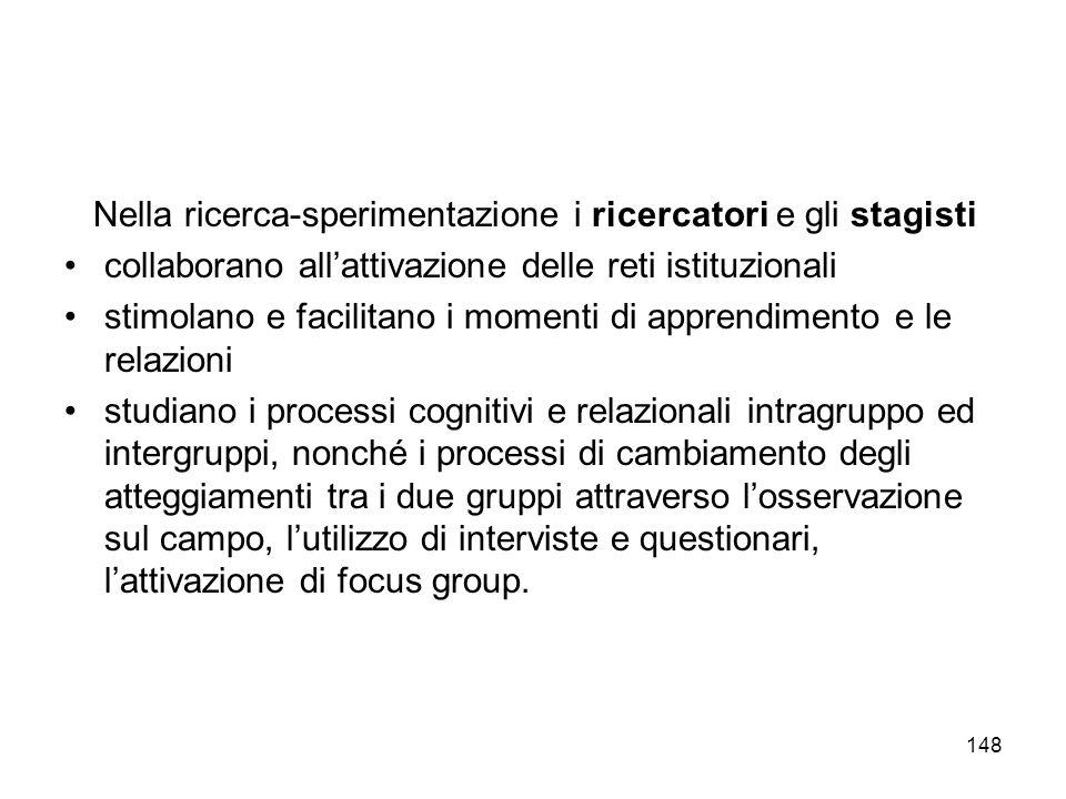 148 Nella ricerca-sperimentazione i ricercatori e gli stagisti collaborano allattivazione delle reti istituzionali stimolano e facilitano i momenti di