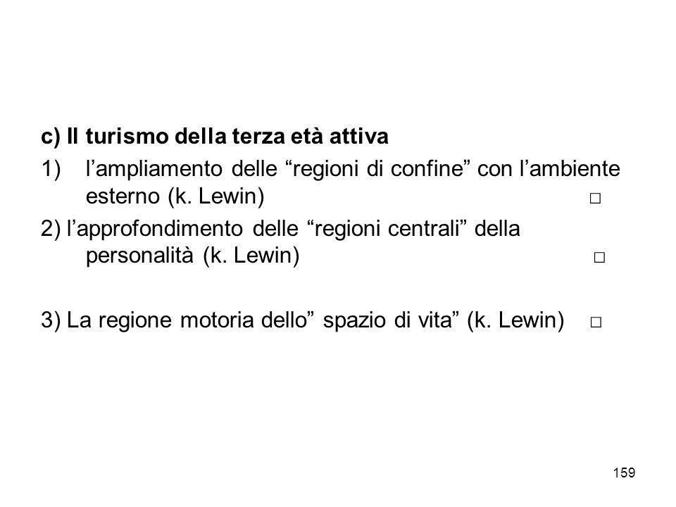 159 c) Il turismo della terza età attiva 1)lampliamento delle regioni di confine con lambiente esterno (k. Lewin) 2) lapprofondimento delle regioni ce