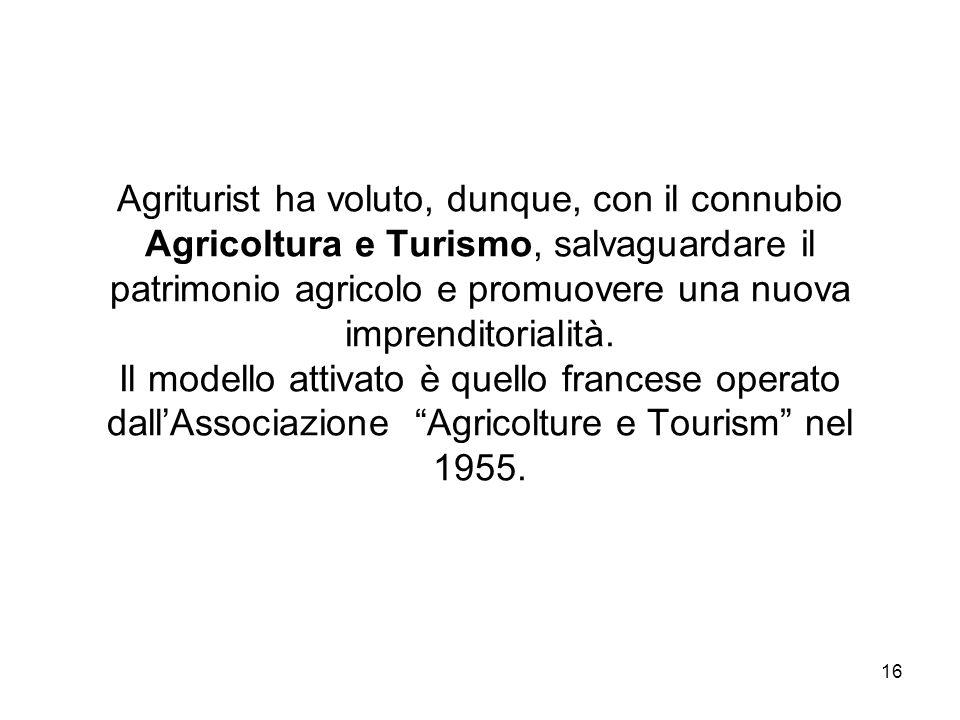 16 Agriturist ha voluto, dunque, con il connubio Agricoltura e Turismo, salvaguardare il patrimonio agricolo e promuovere una nuova imprenditorialità.