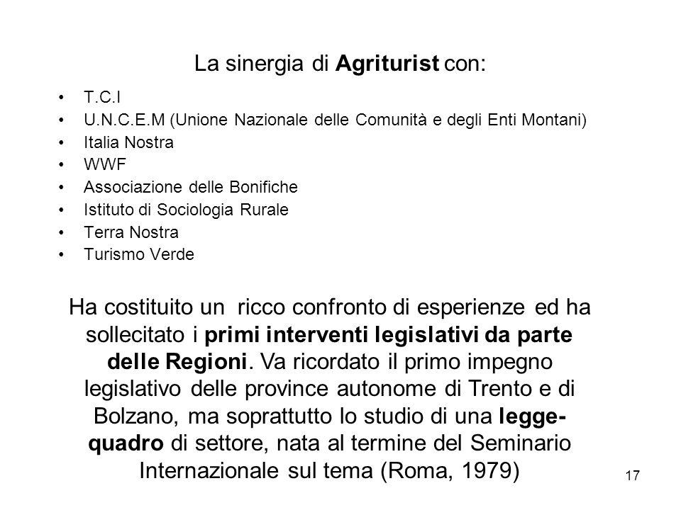 17 La sinergia di Agriturist con: T.C.I U.N.C.E.M (Unione Nazionale delle Comunità e degli Enti Montani) Italia Nostra WWF Associazione delle Bonifich