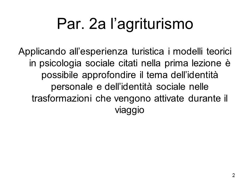 2 Par. 2a lagriturismo Applicando allesperienza turistica i modelli teorici in psicologia sociale citati nella prima lezione è possibile approfondire