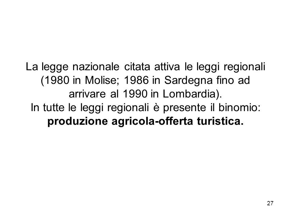 27 La legge nazionale citata attiva le leggi regionali (1980 in Molise; 1986 in Sardegna fino ad arrivare al 1990 in Lombardia). In tutte le leggi reg
