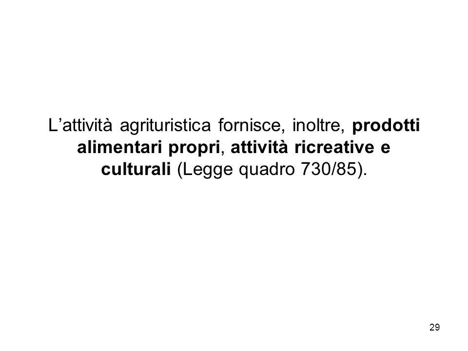 29 Lattività agrituristica fornisce, inoltre, prodotti alimentari propri, attività ricreative e culturali (Legge quadro 730/85).