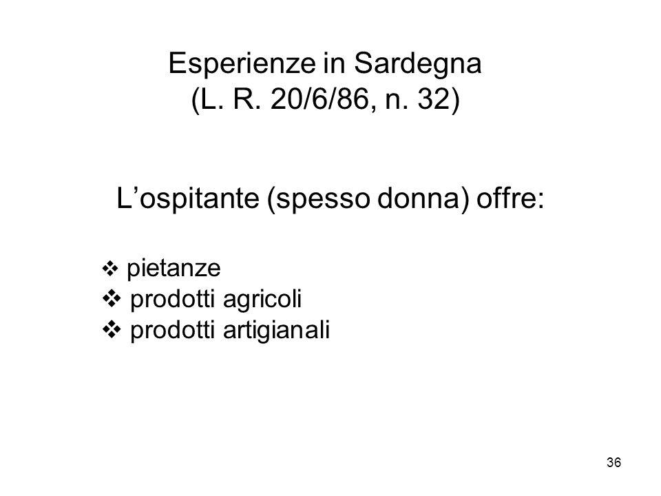36 Esperienze in Sardegna (L. R. 20/6/86, n. 32) Lospitante (spesso donna) offre: pietanze prodotti agricoli prodotti artigianali