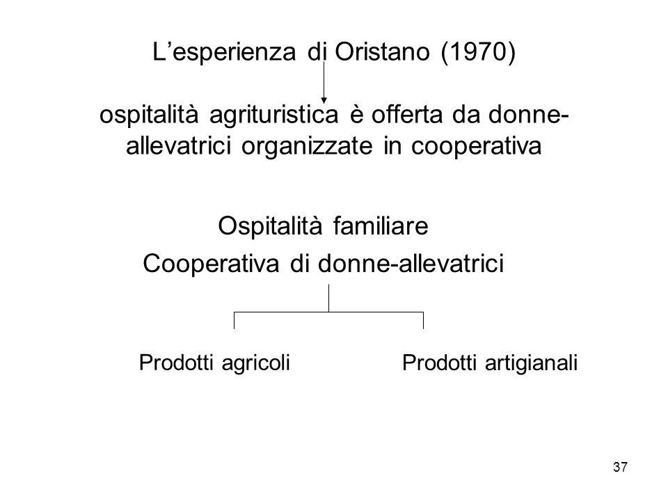 37 Lesperienza di Oristano (1970) ospitalità agrituristica è offerta da donne- allevatrici organizzate in cooperativa Ospitalità familiare Cooperativa