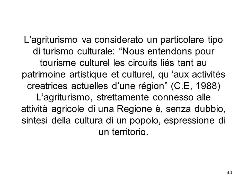 44 Lagriturismo va considerato un particolare tipo di turismo culturale: Nous entendons pour tourisme culturel les circuits liés tant au patrimoine ar
