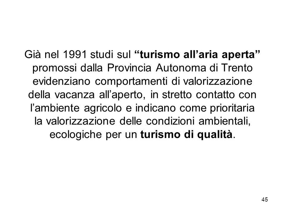 45 Già nel 1991 studi sul turismo allaria aperta promossi dalla Provincia Autonoma di Trento evidenziano comportamenti di valorizzazione della vacanza