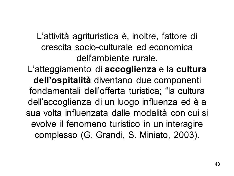 48 Lattività agrituristica è, inoltre, fattore di crescita socio-culturale ed economica dellambiente rurale. Latteggiamento di accoglienza e la cultur