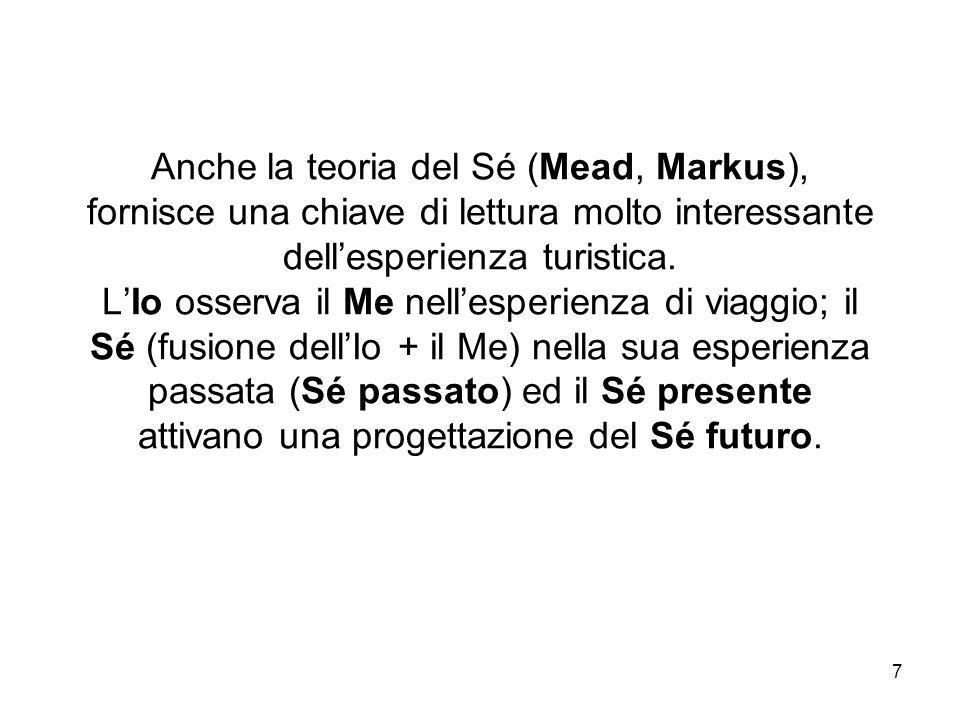 7 Anche la teoria del Sé (Mead, Markus), fornisce una chiave di lettura molto interessante dellesperienza turistica. LIo osserva il Me nellesperienza