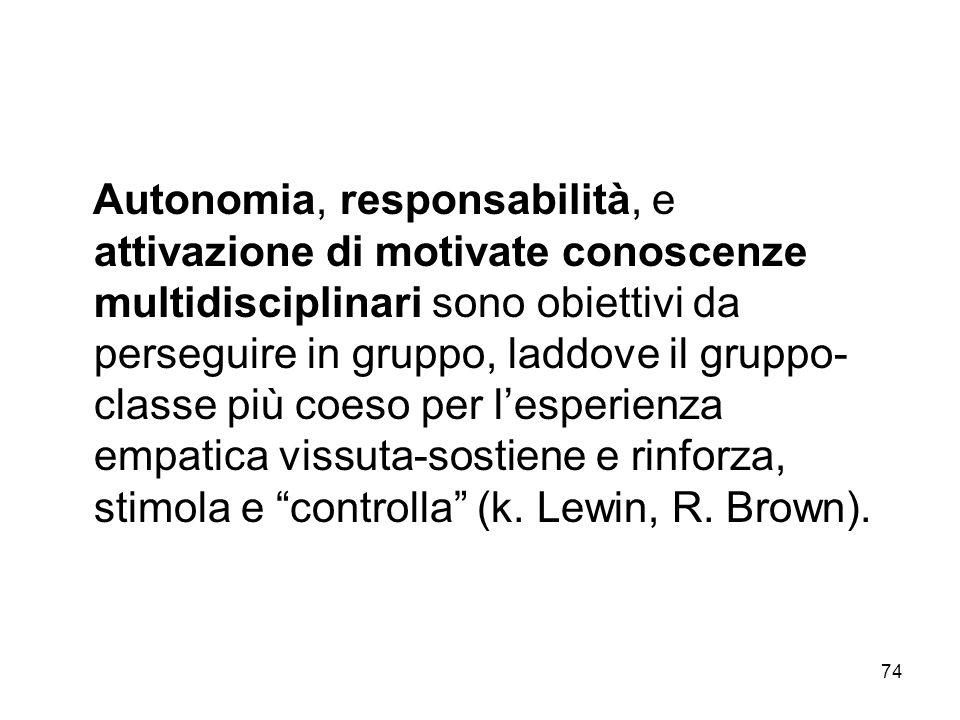 74 Autonomia, responsabilità, e attivazione di motivate conoscenze multidisciplinari sono obiettivi da perseguire in gruppo, laddove il gruppo- classe