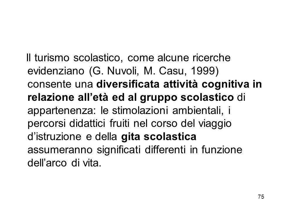 75 Il turismo scolastico, come alcune ricerche evidenziano (G. Nuvoli, M. Casu, 1999) consente una diversificata attività cognitiva in relazione allet