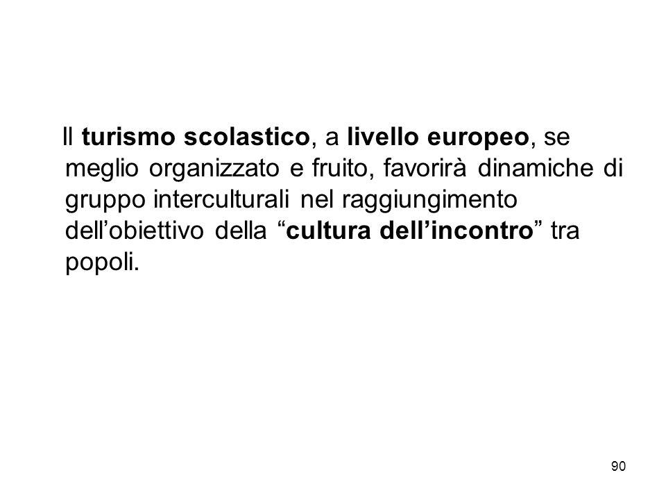 90 Il turismo scolastico, a livello europeo, se meglio organizzato e fruito, favorirà dinamiche di gruppo interculturali nel raggiungimento dellobiett