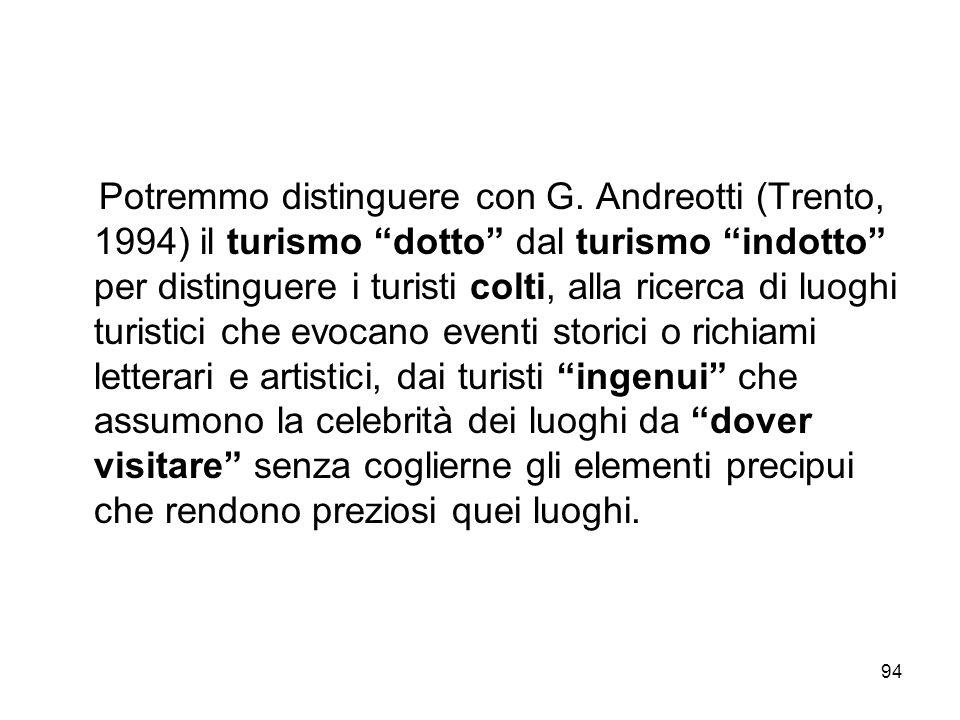 94 Potremmo distinguere con G. Andreotti (Trento, 1994) il turismo dotto dal turismo indotto per distinguere i turisti colti, alla ricerca di luoghi t