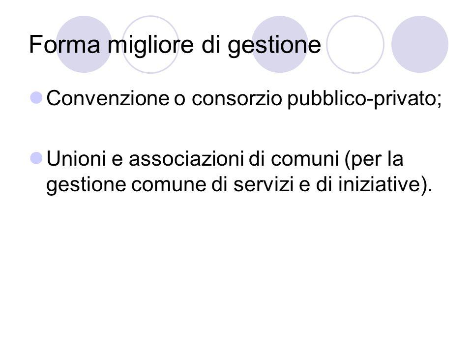Forma migliore di gestione Convenzione o consorzio pubblico-privato; Unioni e associazioni di comuni (per la gestione comune di servizi e di iniziativ
