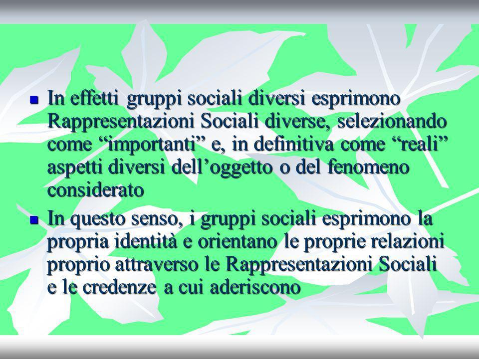 In effetti gruppi sociali diversi esprimono Rappresentazioni Sociali diverse, selezionando come importanti e, in definitiva come reali aspetti diversi