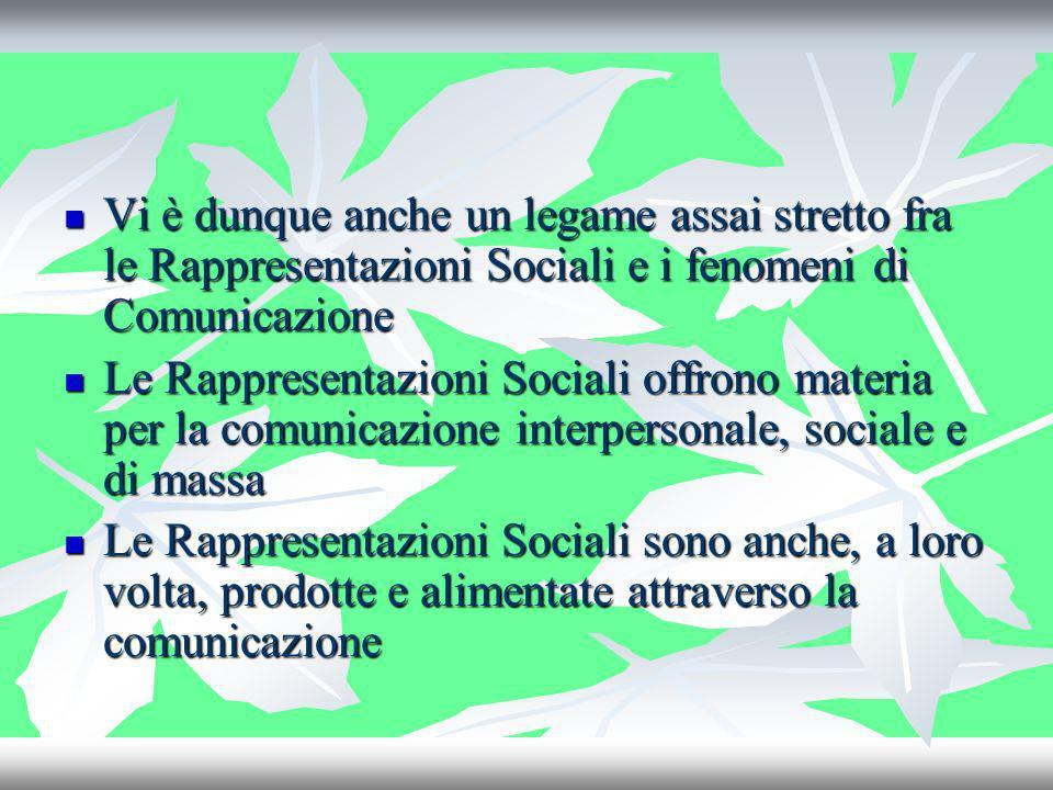 Vi è dunque anche un legame assai stretto fra le Rappresentazioni Sociali e i fenomeni di Comunicazione Vi è dunque anche un legame assai stretto fra