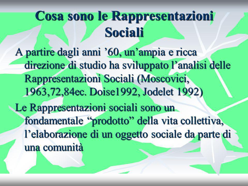 Cosa sono le Rappresentazioni Sociali A partire dagli anni 60, unampia e ricca direzione di studio ha sviluppato lanalisi delle Rappresentazioni Socia