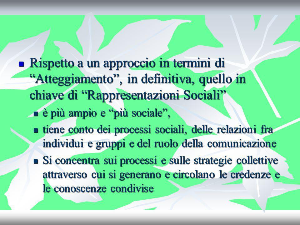 Rispetto a un approccio in termini di Atteggiamento, in definitiva, quello in chiave di Rappresentazioni Sociali Rispetto a un approccio in termini di