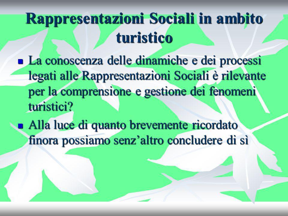 Rappresentazioni Sociali in ambito turistico La conoscenza delle dinamiche e dei processi legati alle Rappresentazioni Sociali è rilevante per la comp