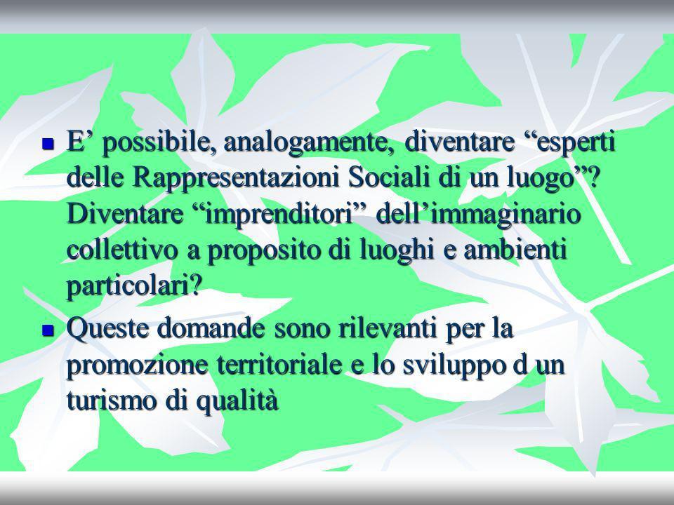 E possibile, analogamente, diventare esperti delle Rappresentazioni Sociali di un luogo? Diventare imprenditori dellimmaginario collettivo a proposito