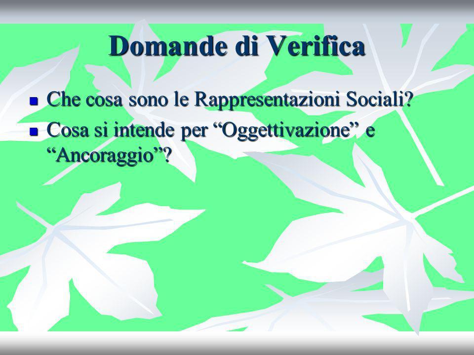 Domande di Verifica Che cosa sono le Rappresentazioni Sociali? Che cosa sono le Rappresentazioni Sociali? Cosa si intende per Oggettivazione e Ancorag