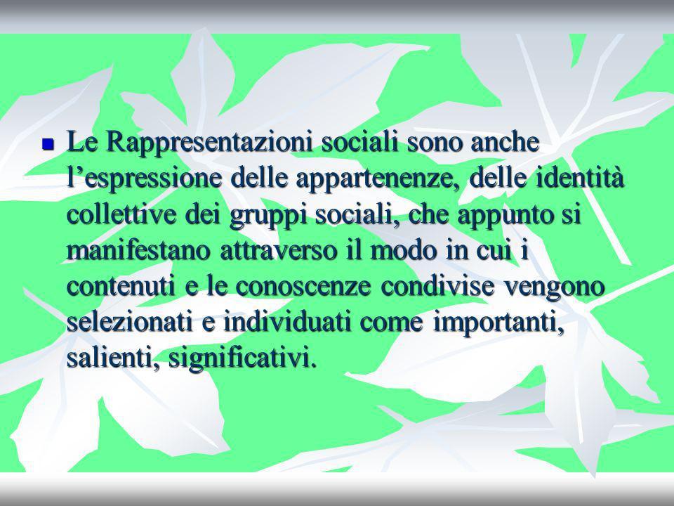 Le Rappresentazioni sociali sono anche lespressione delle appartenenze, delle identità collettive dei gruppi sociali, che appunto si manifestano attra