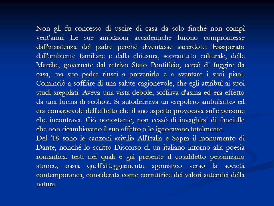 Persa la fede, Leopardi rivolse le sue attenzioni alla filosofia sensistica e materialistica (Pascal, Voltaire, Rousseau).