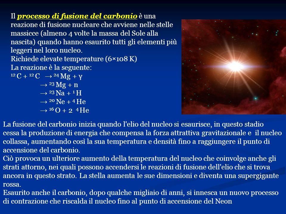 Il processo di fusione del carbonio è una reazione di fusione nucleare che avviene nelle stelle massicce (almeno 4 volte la massa del Sole alla nascit