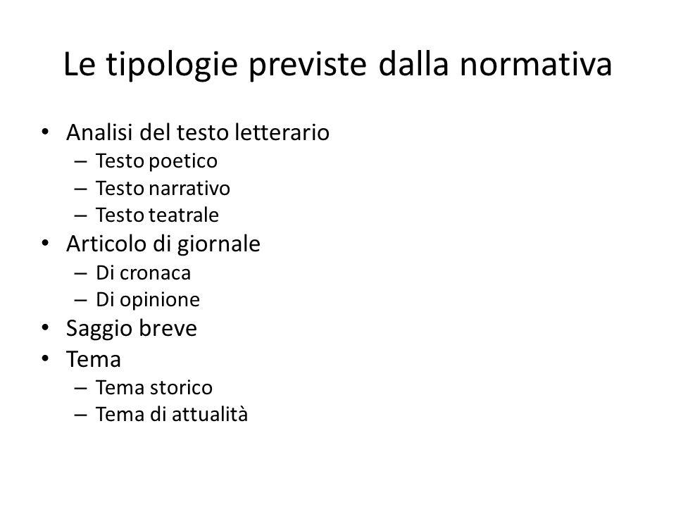 Le tipologie previste dalla normativa Analisi del testo letterario – Testo poetico – Testo narrativo – Testo teatrale Articolo di giornale – Di cronac