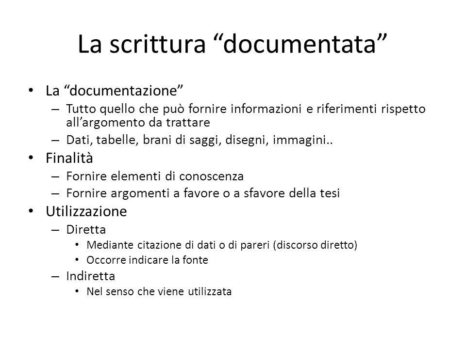 La scrittura documentata La documentazione – Tutto quello che può fornire informazioni e riferimenti rispetto allargomento da trattare – Dati, tabelle