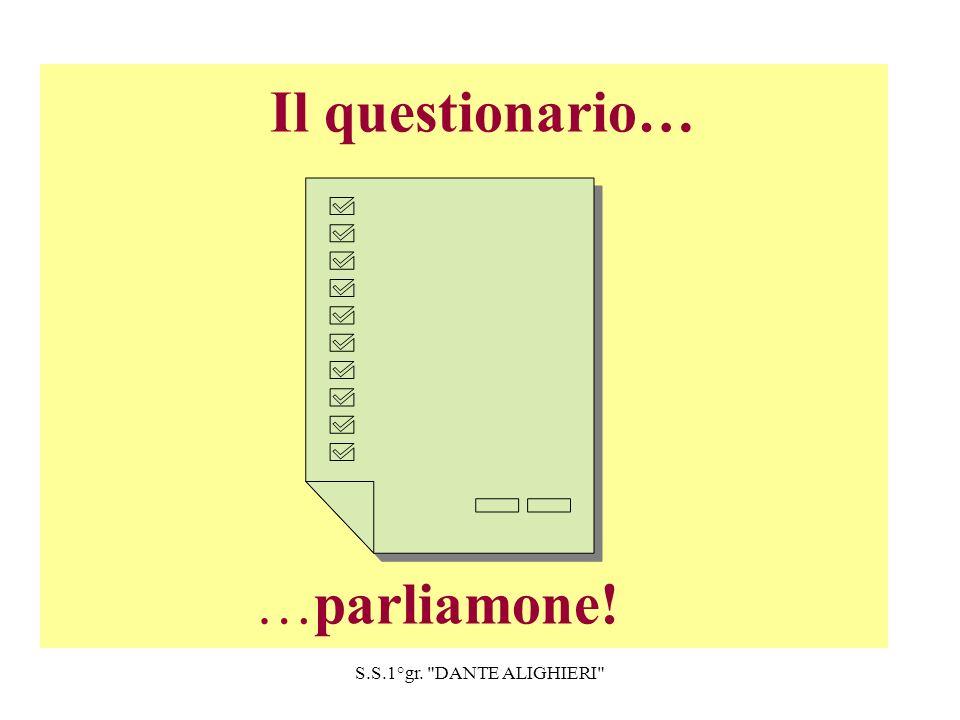 S.S.1°gr. DANTE ALIGHIERI Il questionario… …parliamone!