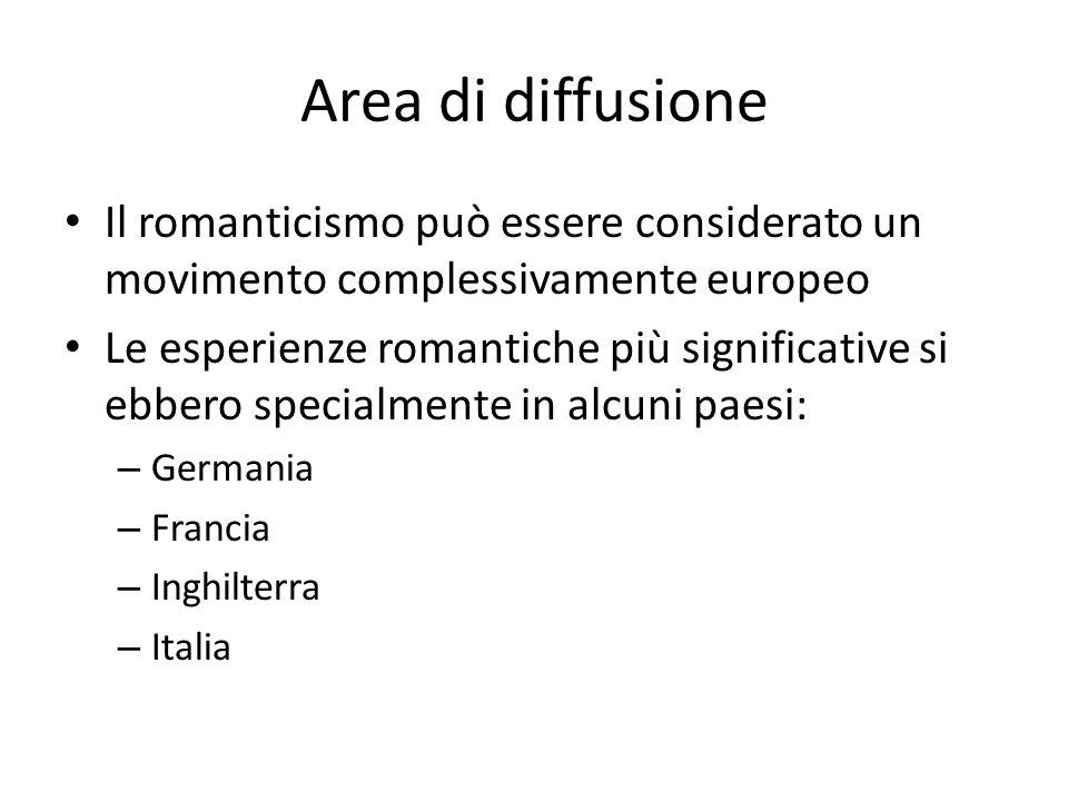 Area di diffusione Il romanticismo può essere considerato un movimento complessivamente europeo Le esperienze romantiche più significative si ebbero s