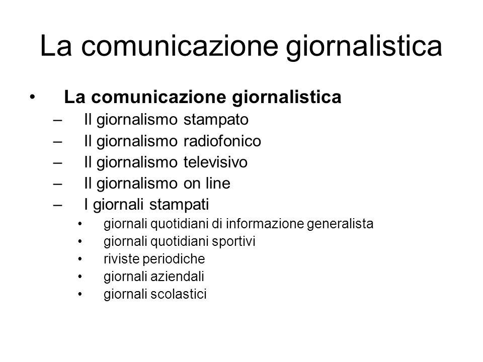 –Il giornalismo stampato –Il giornalismo radiofonico –Il giornalismo televisivo –Il giornalismo on line –I giornali stampati giornali quotidiani di in