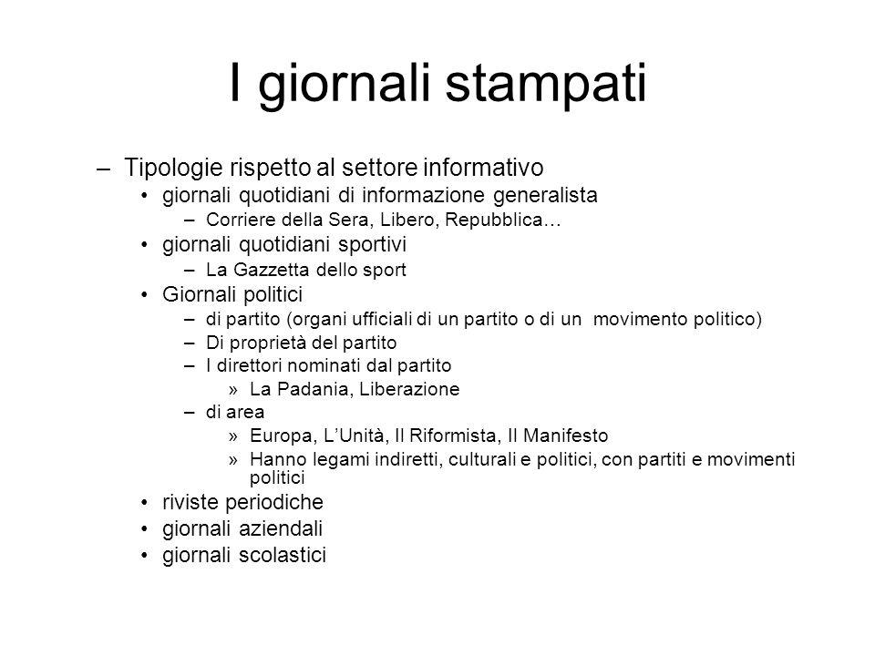 I giornali stampati –Tipologie rispetto al settore informativo giornali quotidiani di informazione generalista –Corriere della Sera, Libero, Repubblic