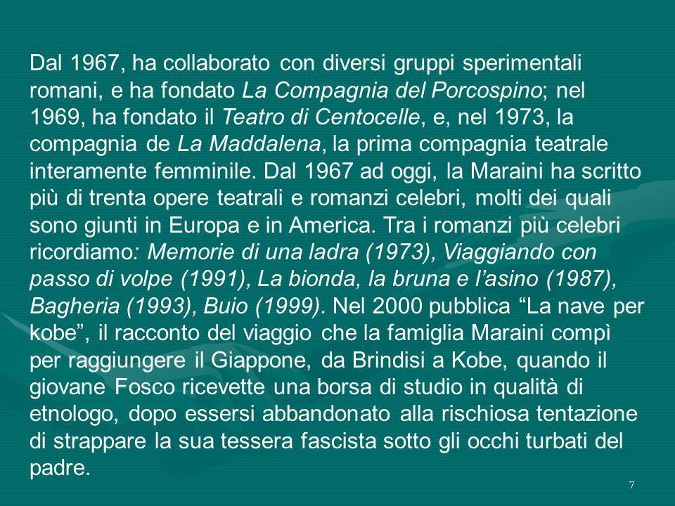 7 Dal 1967, ha collaborato con diversi gruppi sperimentali romani, e ha fondato La Compagnia del Porcospino; nel 1969, ha fondato il Teatro di Centoce