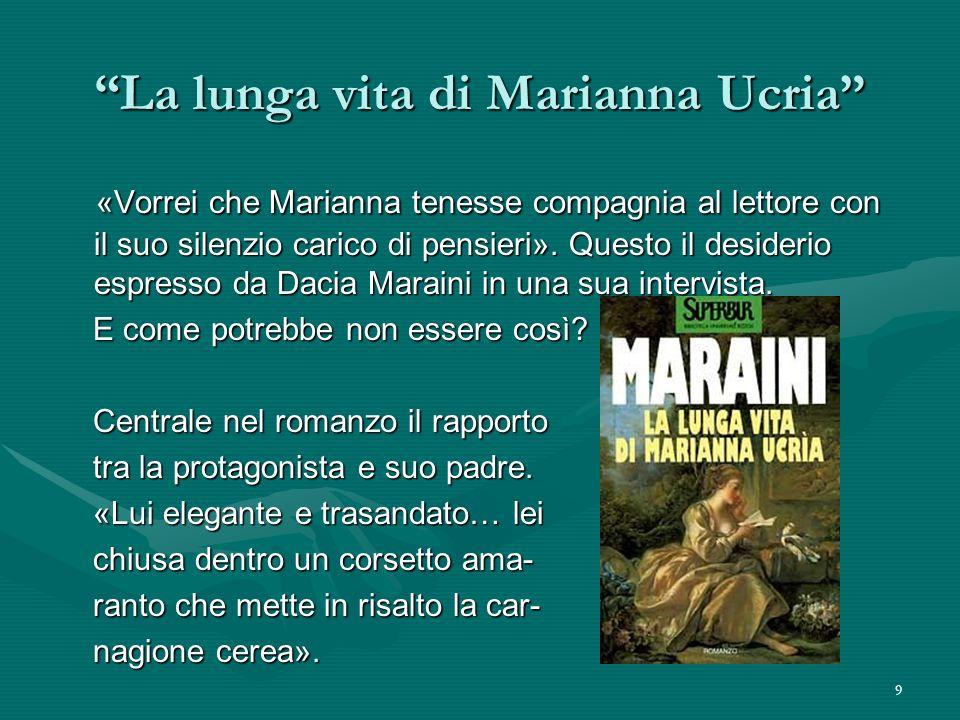 9 La lunga vita di Marianna Ucria «Vorrei che Marianna tenesse compagnia al lettore con il suo silenzio carico di pensieri». Questo il desiderio espre