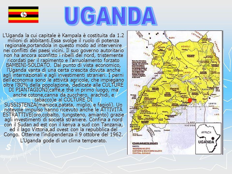 LUganda la cui capitale è Kampala è costituita da 1.2 milioni di abbitanti.Essa svolge il ruolo di potenza regionale,portandola in questo modo ad inte