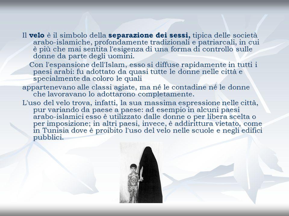 Il velo è il simbolo della separazione dei sessi, tipica delle società arabo-islamiche, profondamente tradizionali e patriarcali, in cui è più che mai
