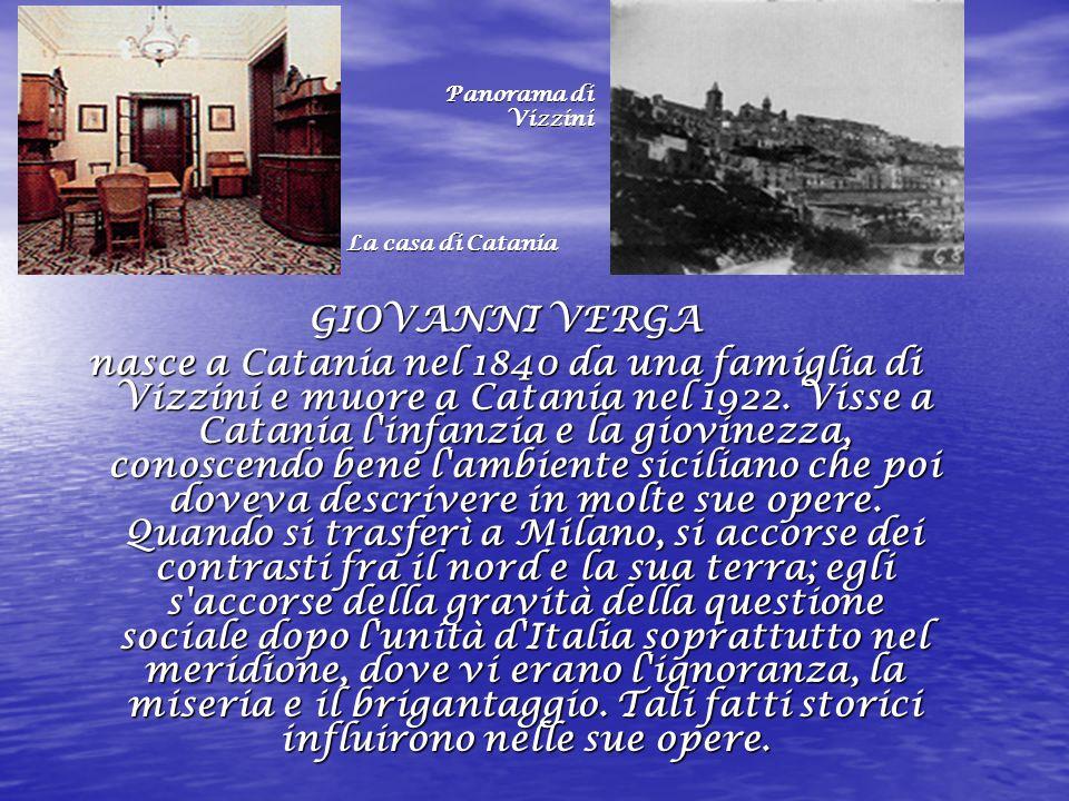 Panorama di Panorama di Vizzini Vizzini La casa di Catania La casa di Catania GIOVANNI VERGA nasce a Catania nel 1840 da una famiglia di Vizzini e muore a Catania nel 1922.