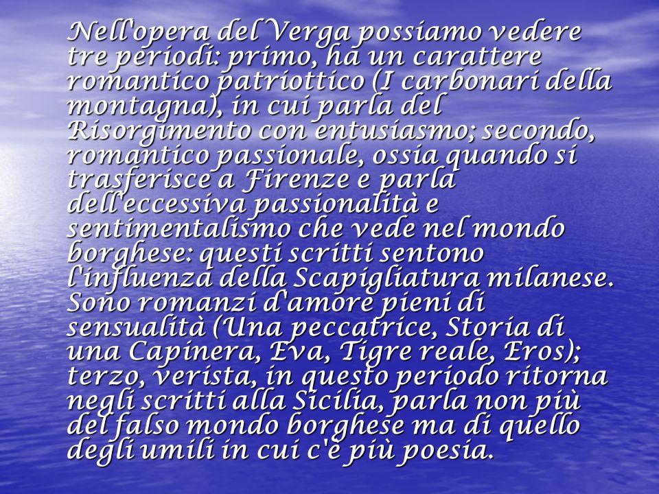 La novella -Nedda-, per il suo contenuto sembra segnare l inizio del periodo verista del Verga perchè la protagonista è un umile donna della Sicilia, però sembra ancora la storia scritta da un borghese di buon cuore che si commuove.