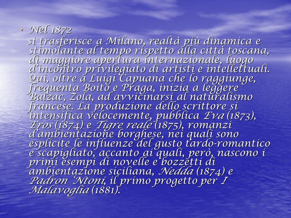 Nel 1872 Nel 1872 si trasferisce a Milano, realtà più dinamica e stimolante al tempo rispetto alla città toscana, di maggiore apertura internazionale, luogo dincontro privilegiato di artisti e intellettuali.