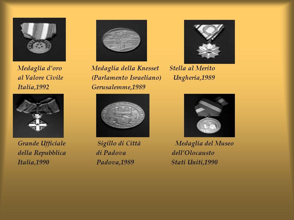 Medaglia doro Medaglia della Knesset Stella al Merito al Valore Civile (Parlamento Israeliano) Ungheria,1989 Italia,1992 Gerusalemme,1989 Grande Uffic